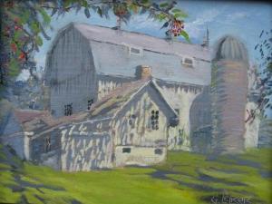 """1886 Barn, oil on linen, 9"""" x 12"""""""