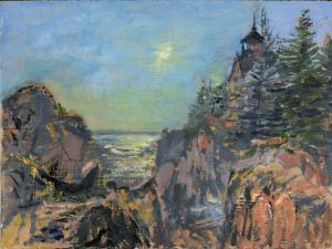 """Bass Harbor Lighthouse, oil on pane, 9"""" x 12"""""""
