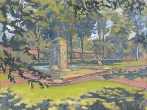 "Bestor Plaza Fountain, oil on linen, 9"" x 12"""