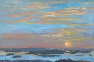 "Cadillac Mountain Sunrise 5:45 am, oil on panel, 6"" x 9"""