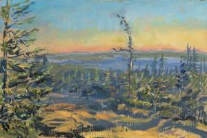 "Cadillac Mountain Sunrise 6:30 am, oil on panel, 6"" x 9"""
