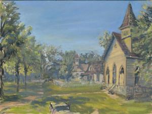 "Church at The Landing, oil on linen, 9"" x 12"""