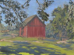 """Red Barn, The Landing, oil on linen, 9"""" x 12"""""""