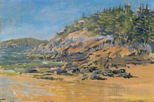 "Sand Beach Morning, oil on panel, 6"" x 9"""