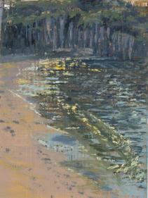 """Sand Beach Sparkle, oil on panel, 4.5"""" x 6"""""""