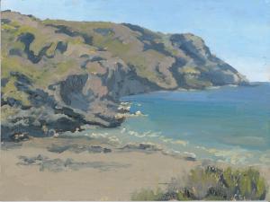 "Shark Harbor Cliffs, oil on linen, 9"" x 12"""