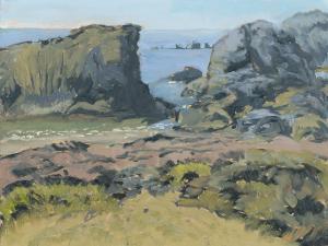 """Shark Harbor Rocks, oil on linen, 9"""" x 12"""""""