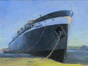 """Spartan in Dry Dock, oil on linen, 9"""" x 12"""""""
