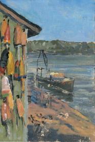 "Thurston Lobster Buoys, oil on panel, 6"" x 9"""
