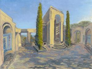 "Wrigley Memorial, oil on linen, 9"" x 12"""