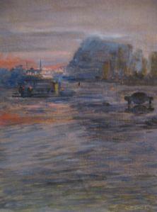 Barn Bluff Sunrise with Tug Boat