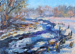 Melting Painted at Mineral Point Plein Air Winter Edition February 2016 - Sold