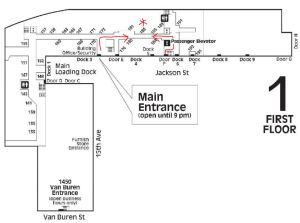 Use Main Entry or Door F (new ADA ramp from parking lot!)