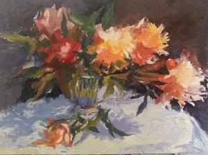 Add tablecloth, cast shadow, and vase; now adding white to colors. At the same time, lightest portions of flowers are noted by rubbing out the underpainting.